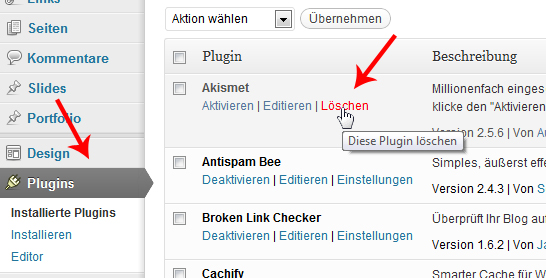 wordpress-plugin-loeschen