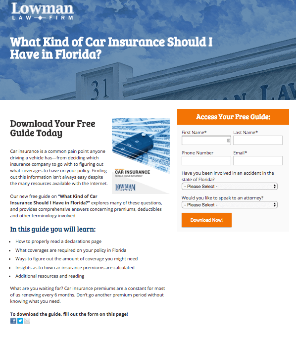 lowman law landing page
