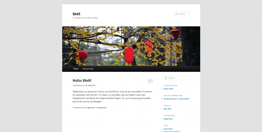 Standard WordPress Theme
