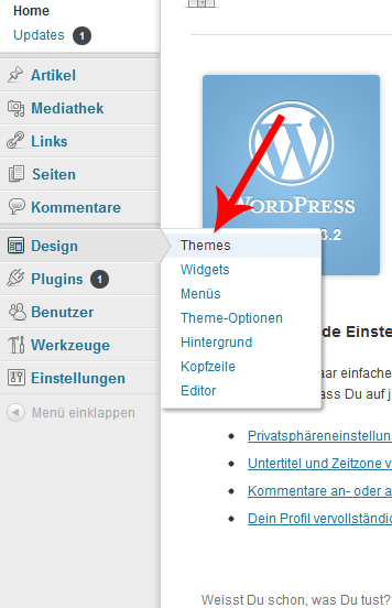 Wordpress > Design > Themes