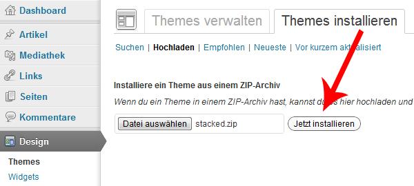 Wordpress Themes jetzt installieren