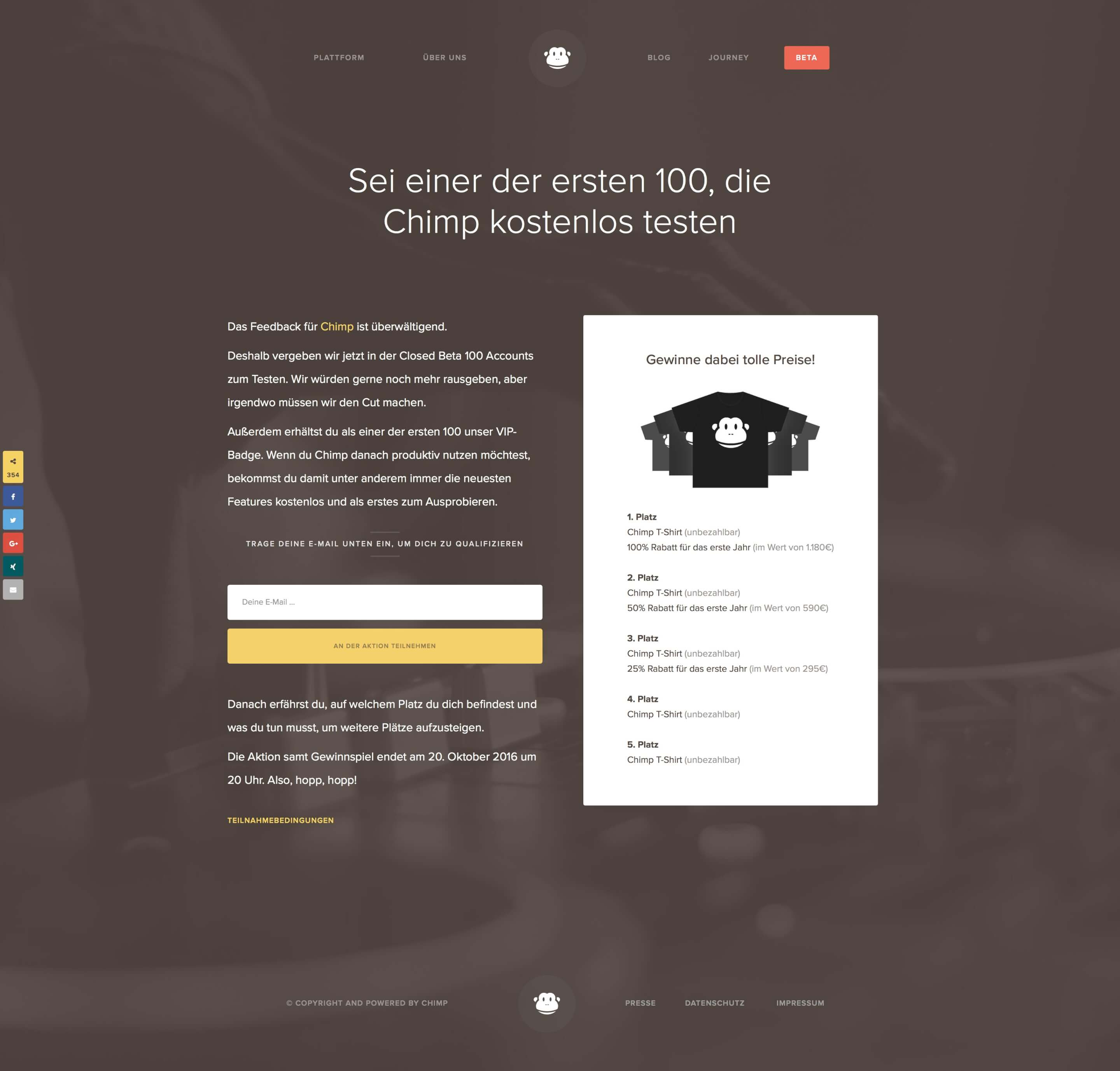 chimp beta aktion landing page