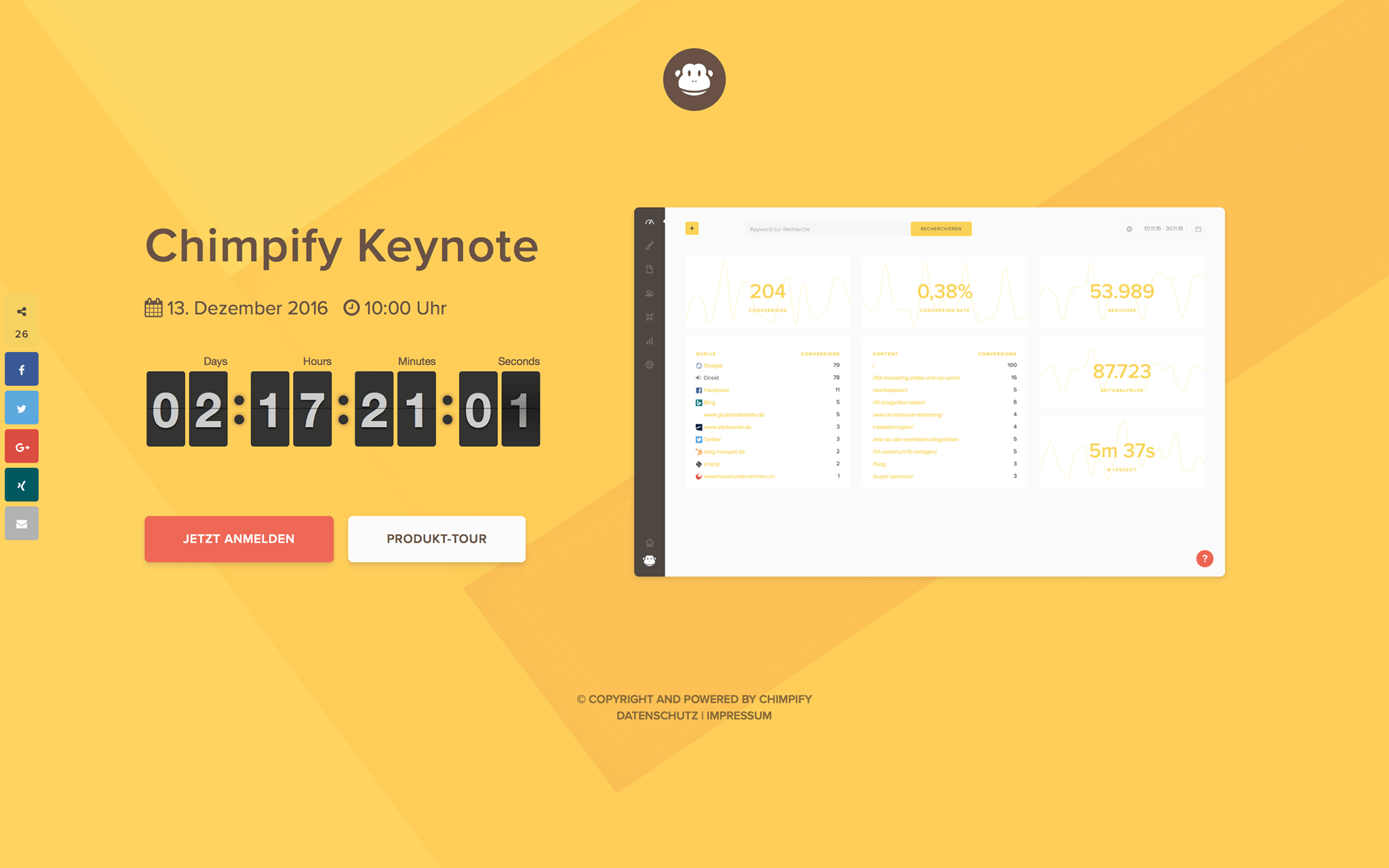 chimpify keynote landing page