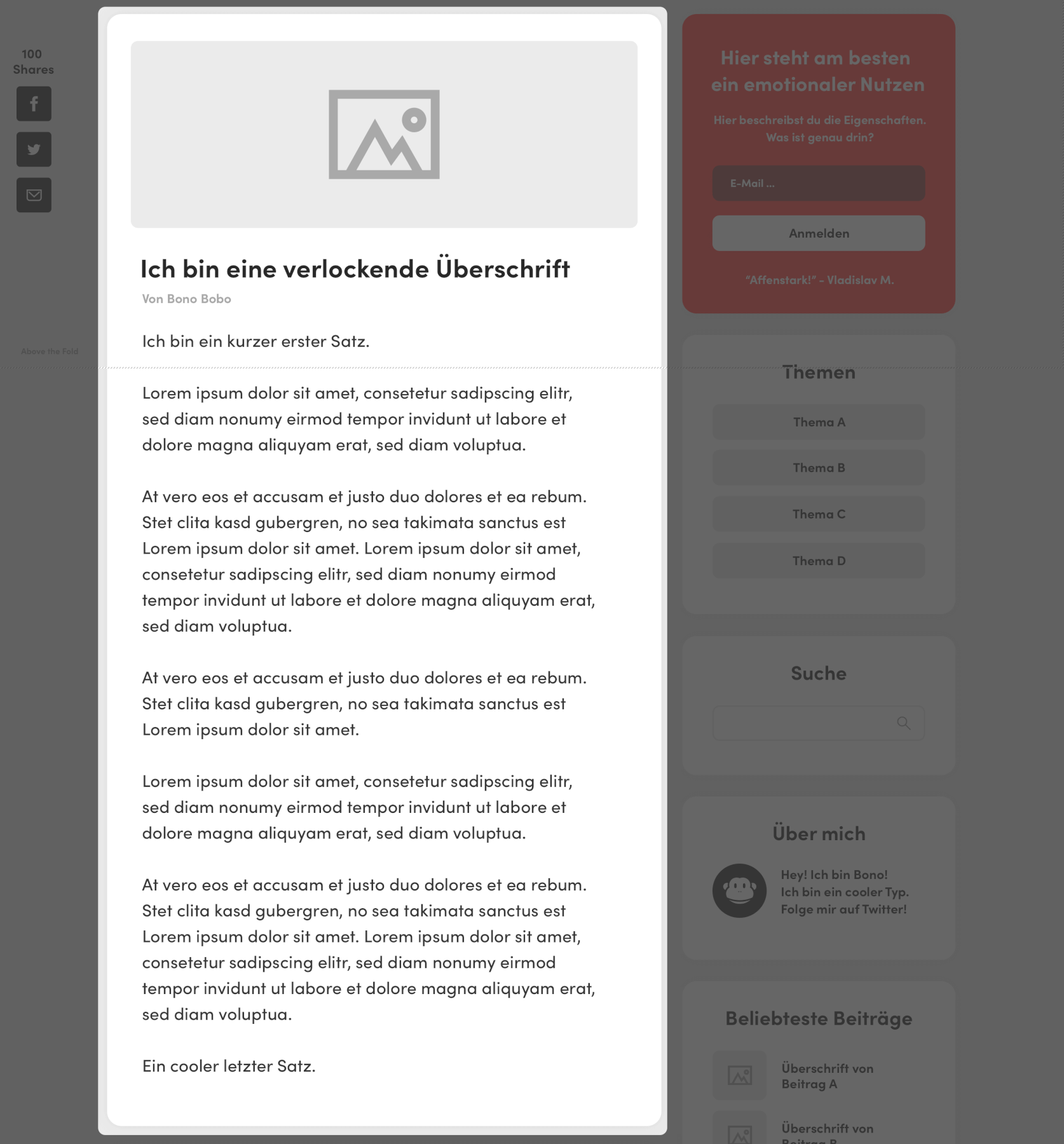 blog design content bereich