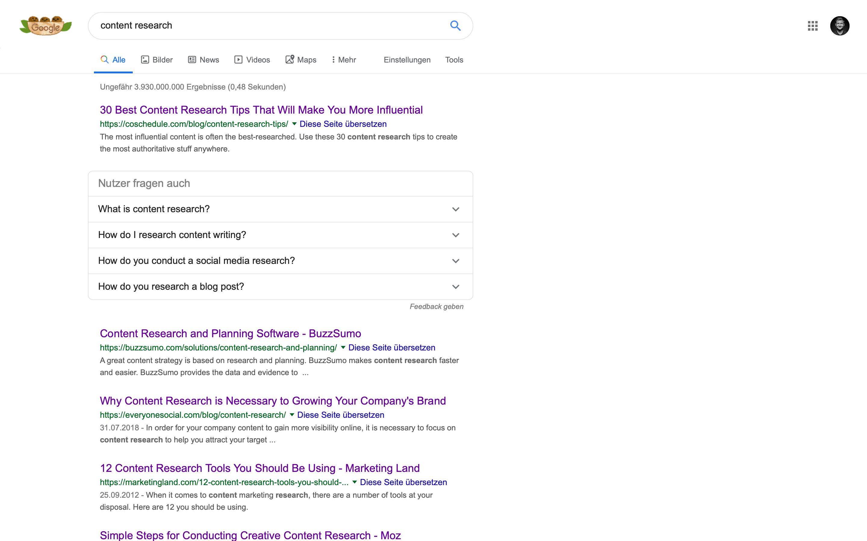 content recherche google