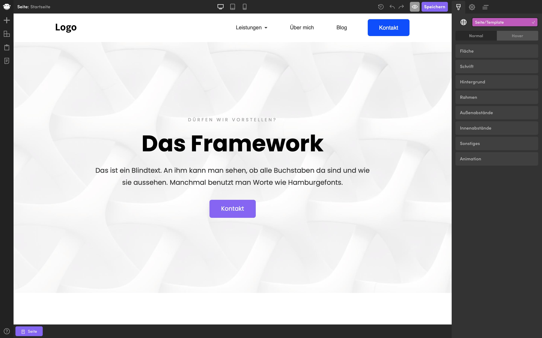 framework startseite nach bearbeiten