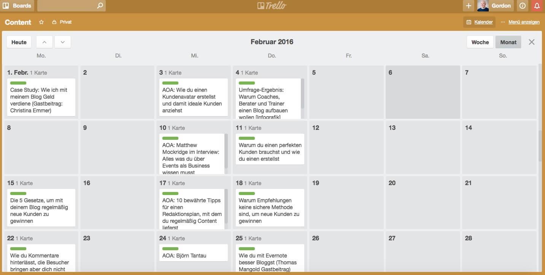 Die Kalender-Ansicht von Trello