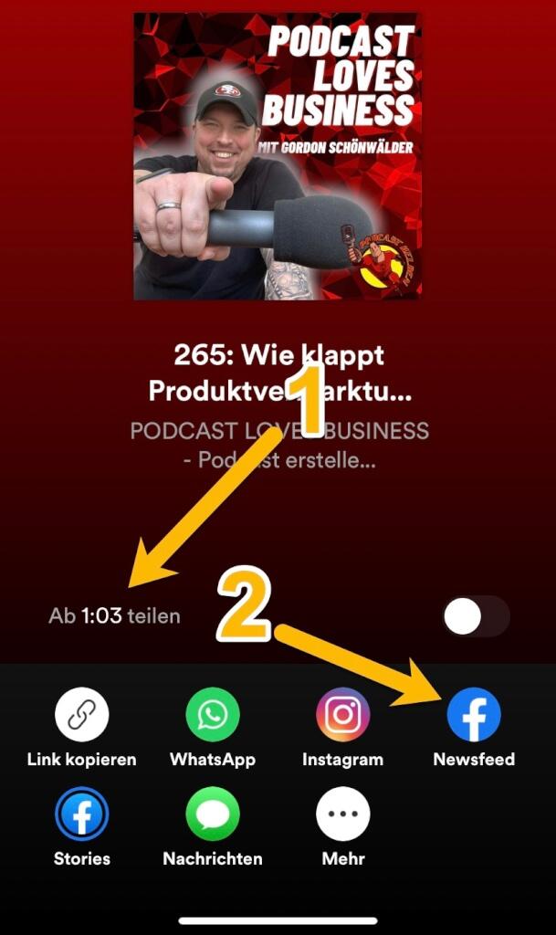 Podcast-Episoden aus Spotify in Facebook mit dem Miniplayer teilen 3
