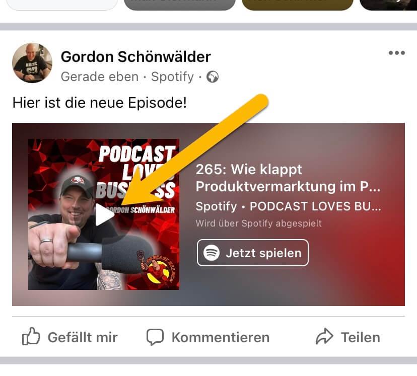 Podcast-Episoden aus Spotify in Facebook mit dem Miniplayer teilen 6