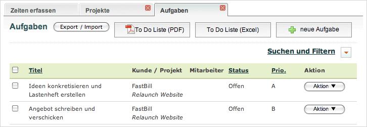 Projektmanagement mit FastBill