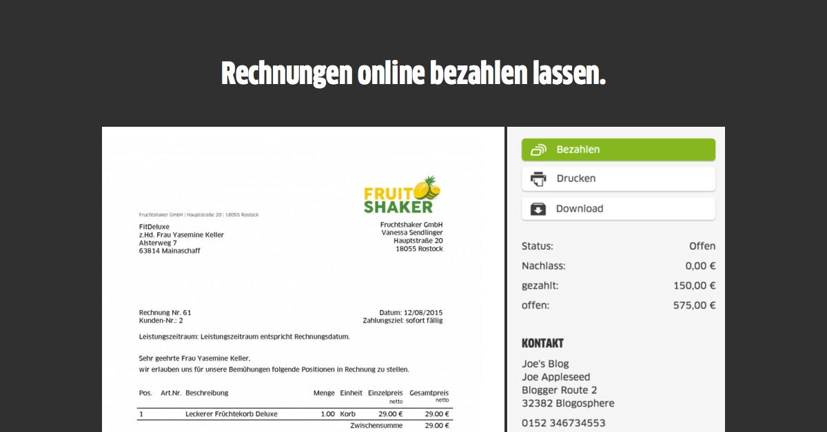 Die neue Online Rechnung: Schnellere Zahlungseingänge per Kreditkarte, PayPal und Klarna