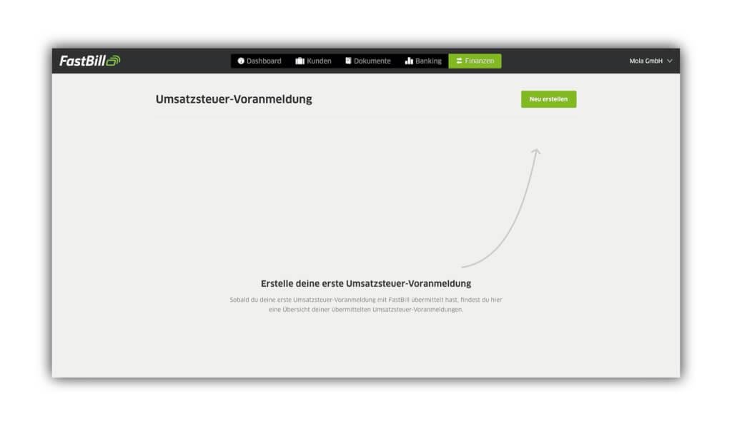 Screenshot der Umsatzsteuervoranmeldung in FastBill, um eine Nullmeldung abzugeben.
