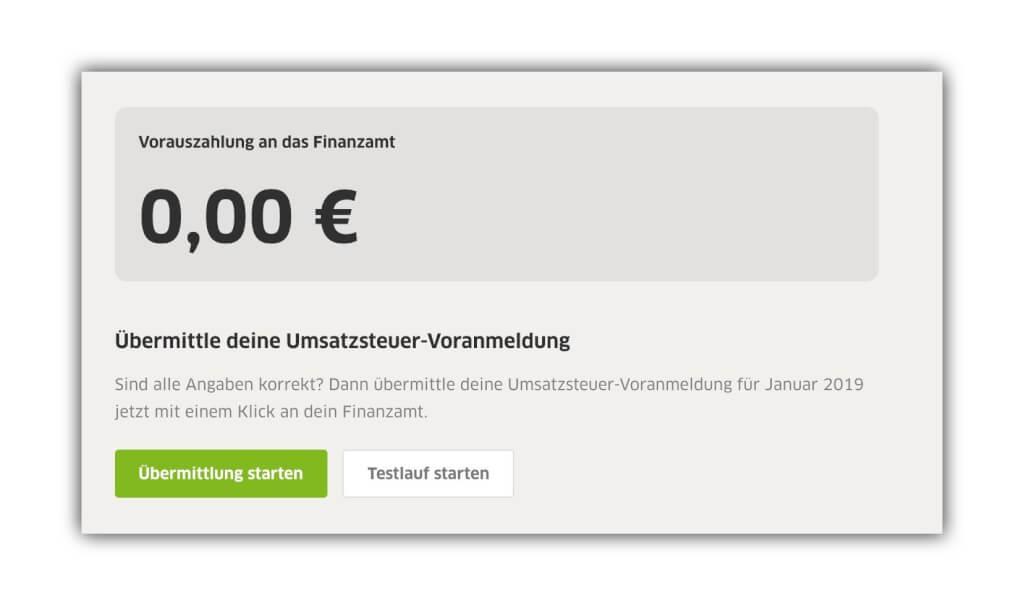 Screenshot einer Umsatzsteuervoranmeldung als Nullmeldung in FastBill