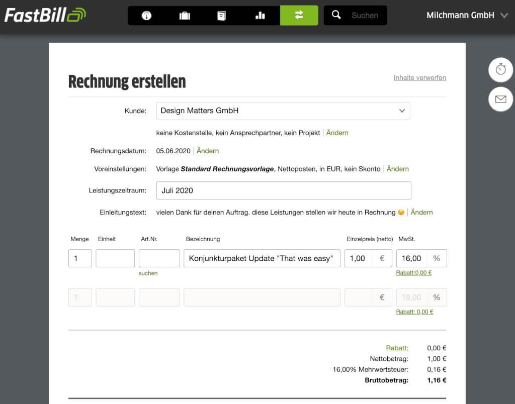 Mehrwertsteuersenkung in FastBill anpassen