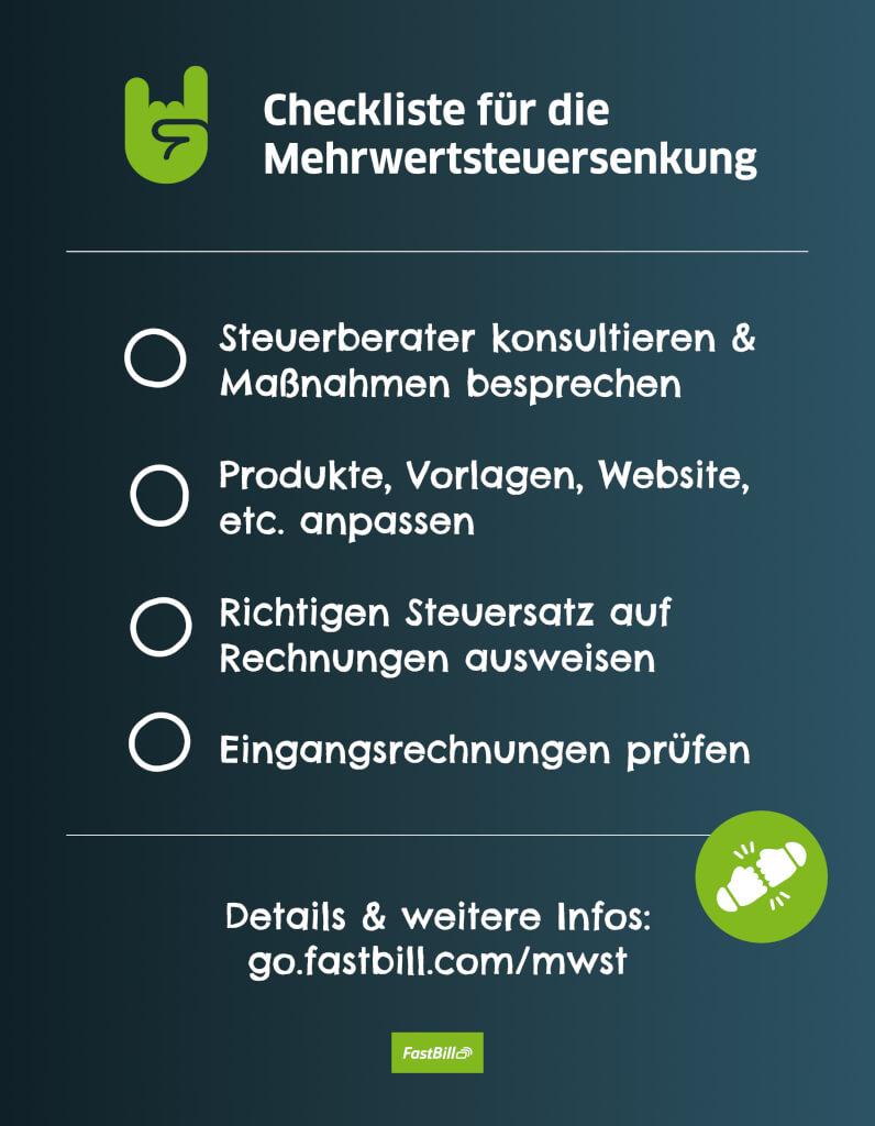 checkliste mehrwertsteuersenkung fastbill