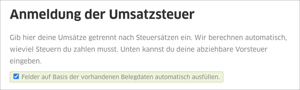 Screenshot der Umsatzsteuervoranmeldung, die man in FastBill automatisch ausfuellen lassen kann