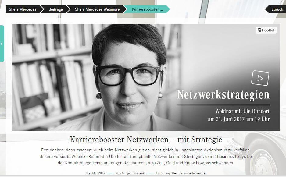 She´s Mercedes, Webinar: Karrierebooster Netzwerken