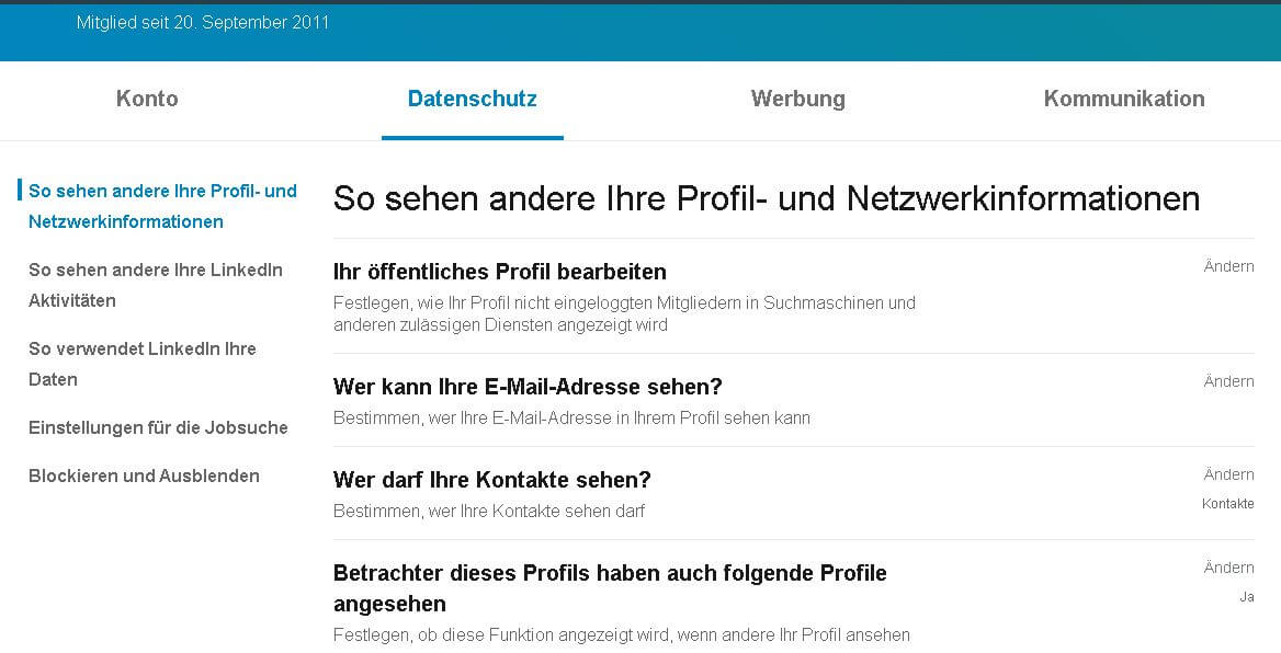 Einstellung Datenschutz LinkedIn 2