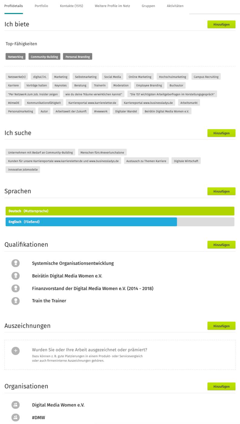 Profildetails Xing Profil