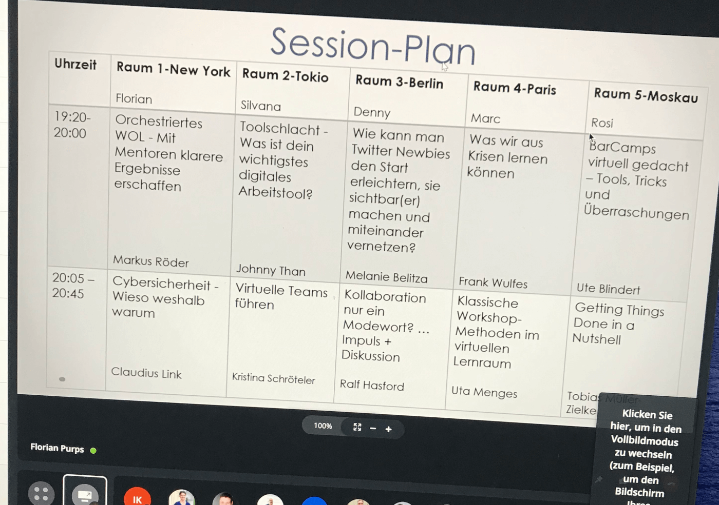 Sessionplan Netz Work