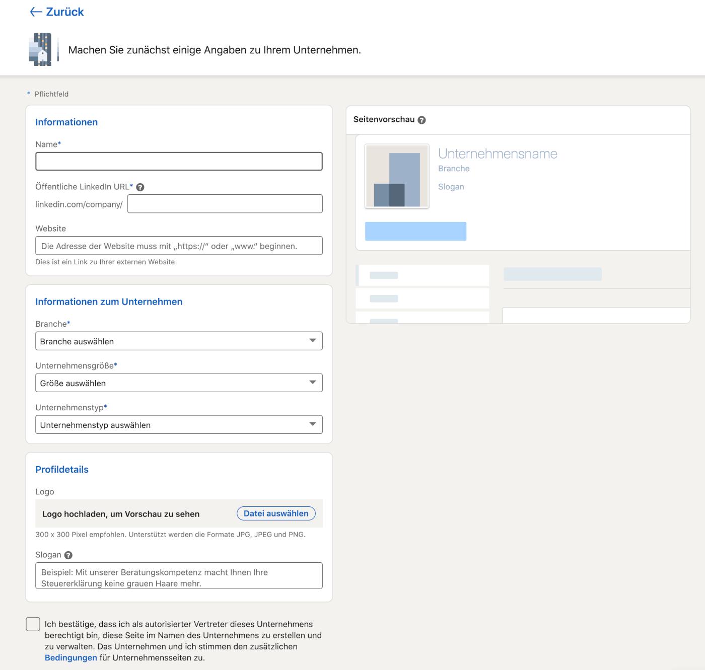 LinkedIn Unternehmensseite Formular