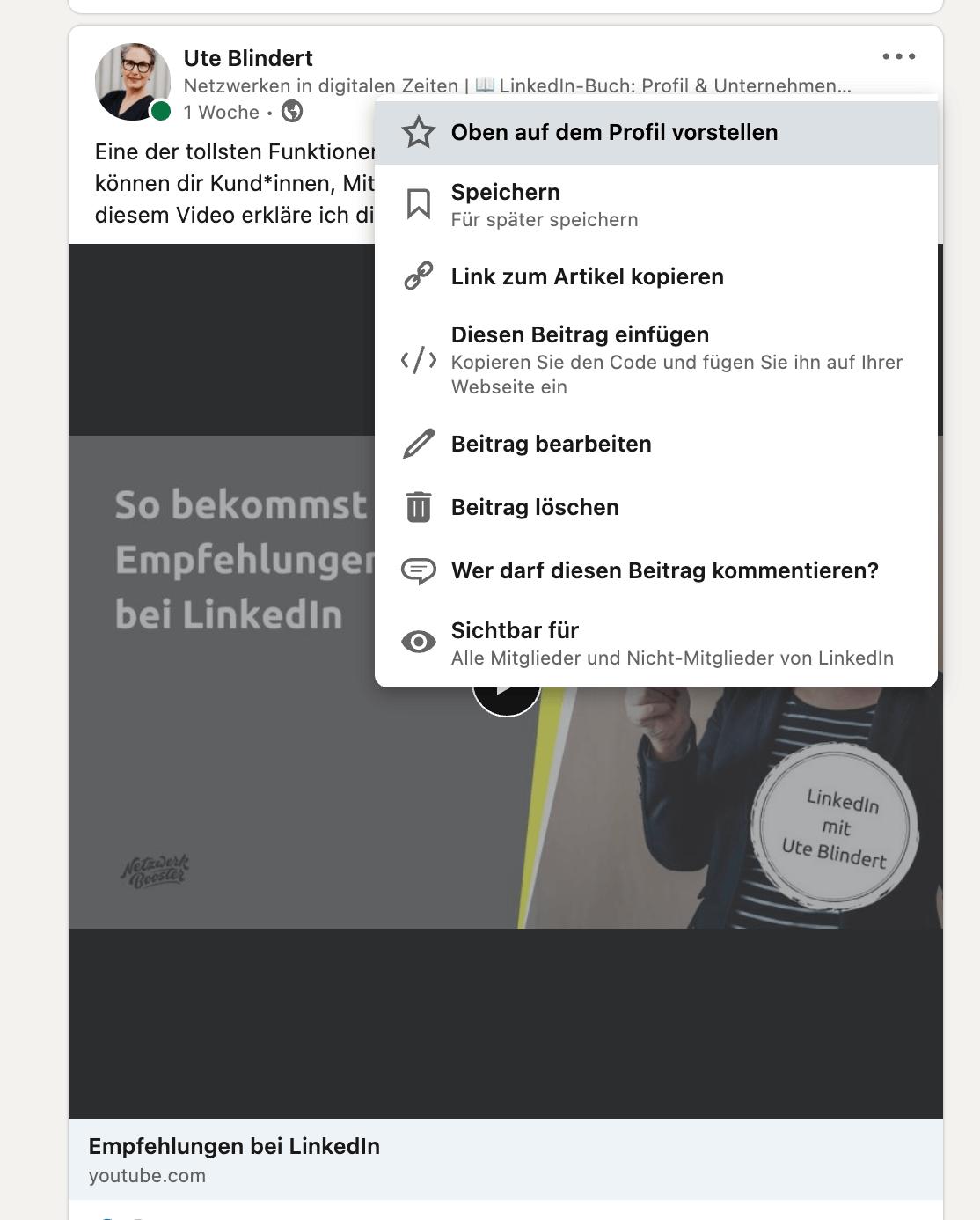Beitrag im Fokus bei LinkedIn