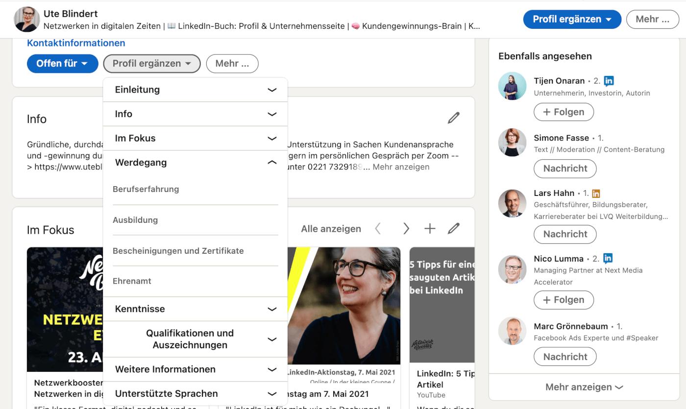 Profil Bereiche bei LinkedIn ergaenzen