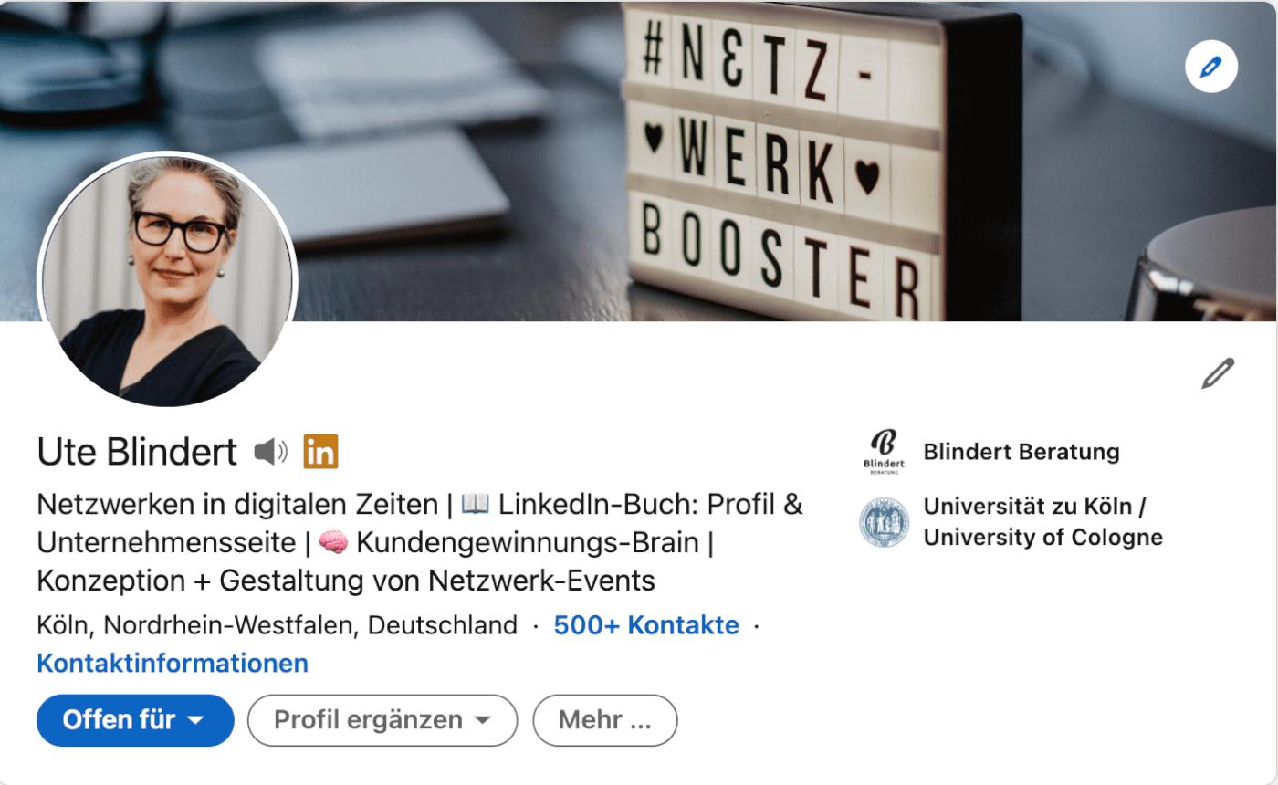 Profil Slogan bei LinkedIn
