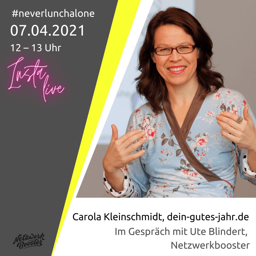 #neverlunchalone bei Insta-Live: Carola Kleinschmidt im Gespräch