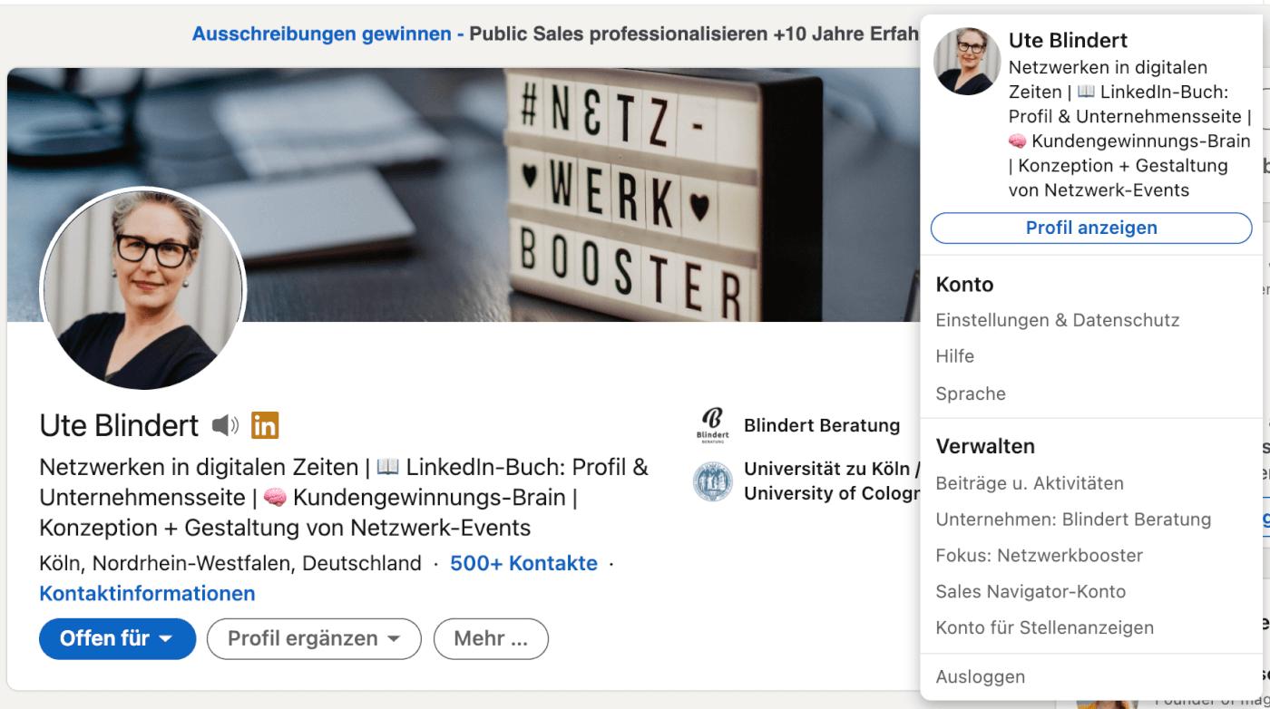 Personal Branding LinkedIn Header mit Bild und Profilslogan