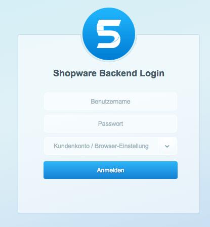 Shopware 5 Backend Login