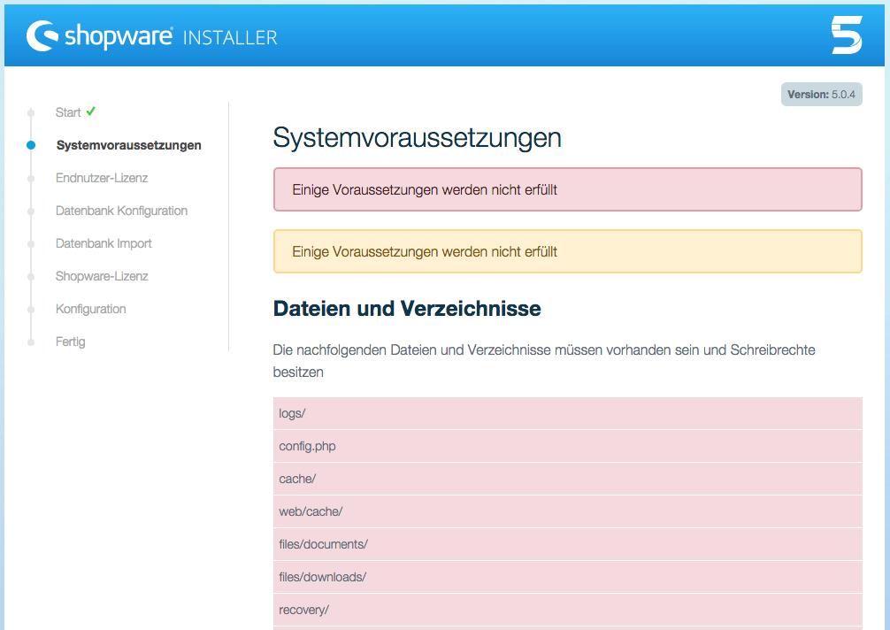 Shopware Installation Fehler