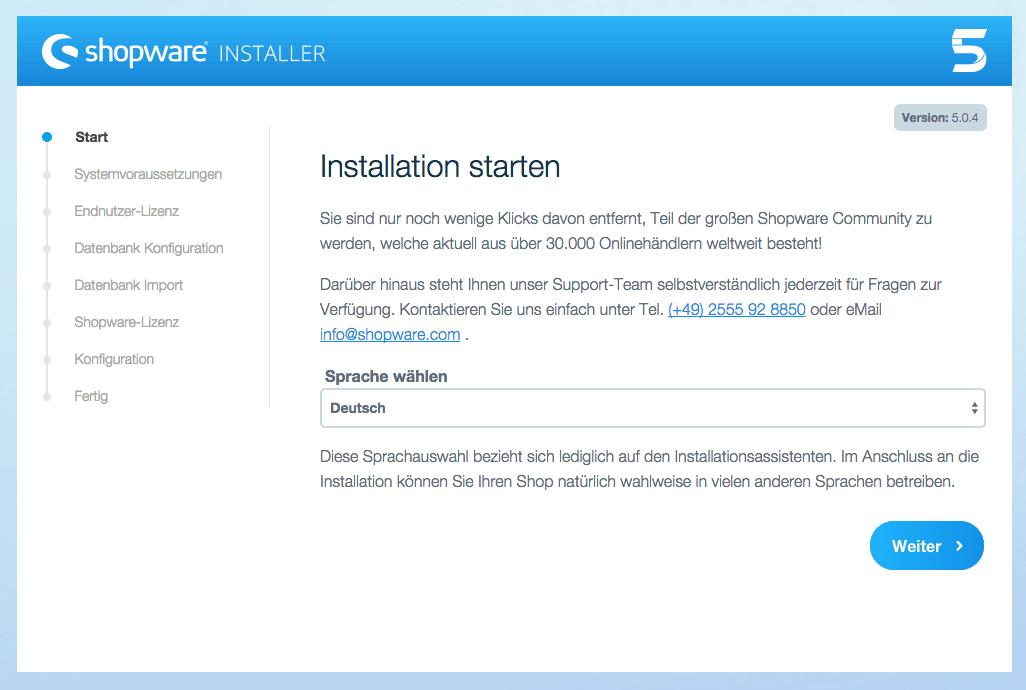 Shopware Installation starten