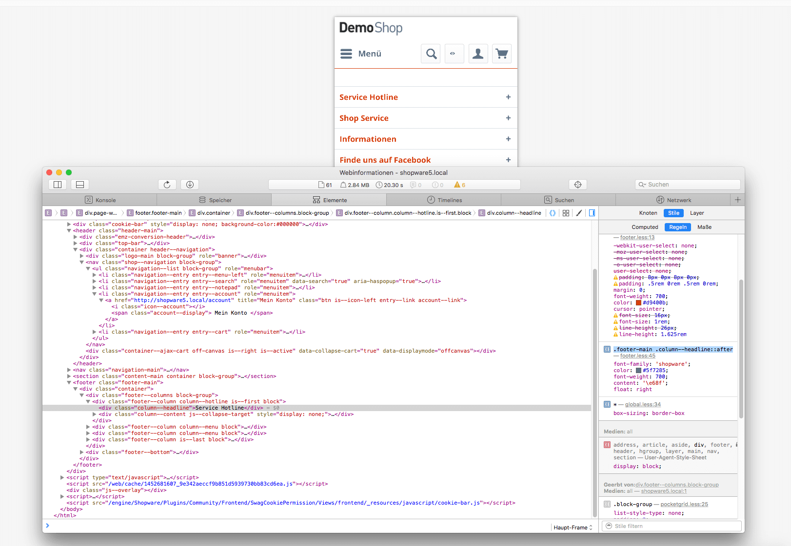Chrome Dev Tools footer.less