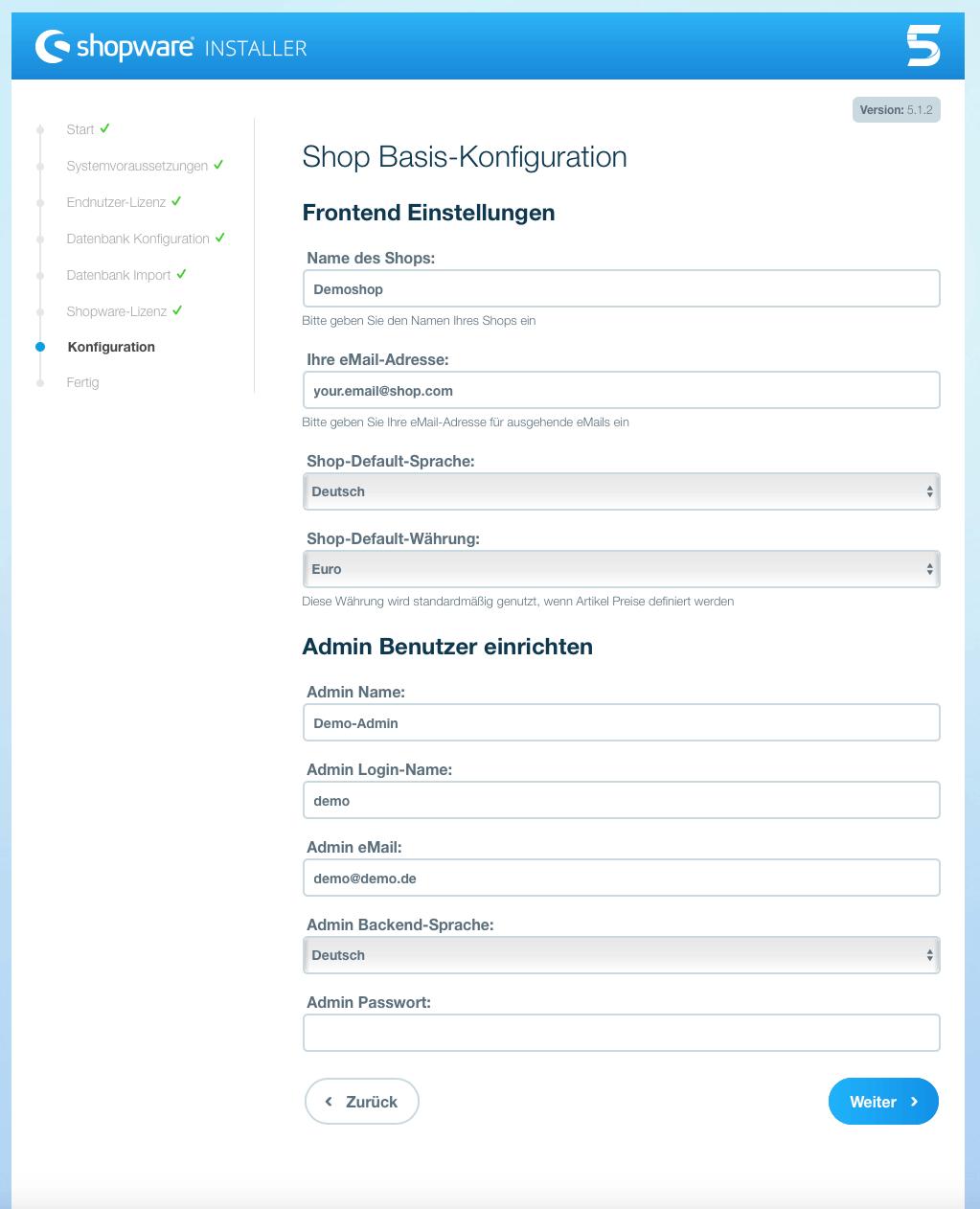 Shopware 5 Administrator konfigurieren