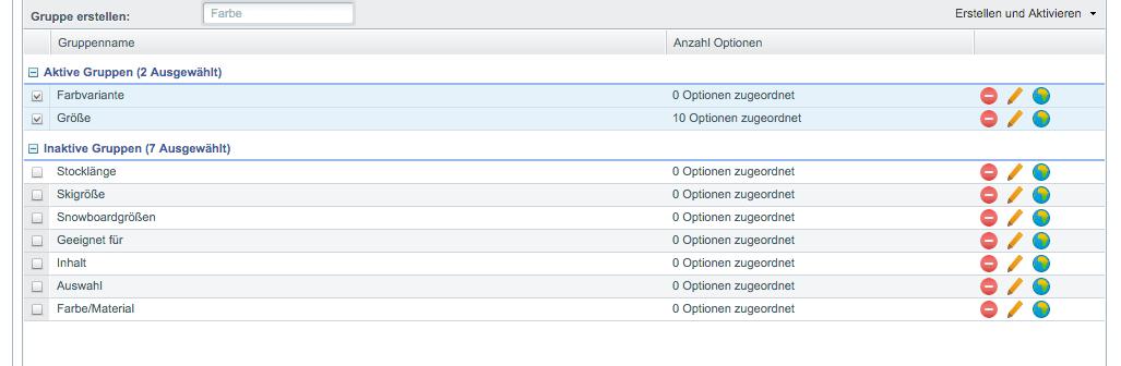 Aktive Varianten Gruppen