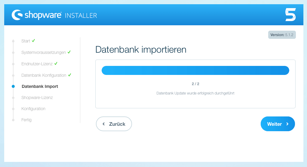 Shopware 5 Datenbank Import Ende