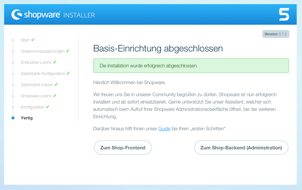 Shopware 5 Installation Fertig