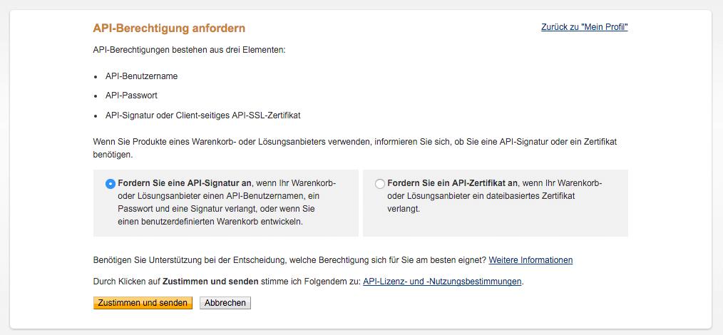 PayPal Option 2 zustimmen und senden