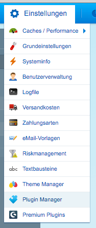 Plugin Manager Menü Link