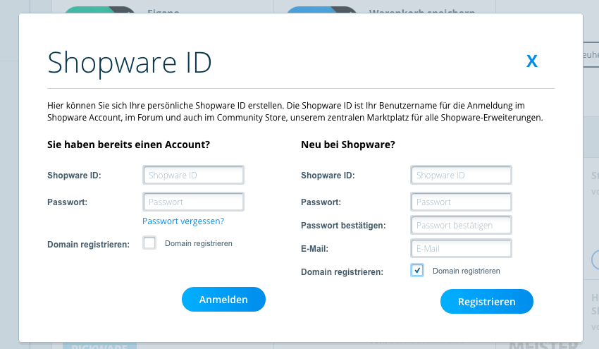 Plugin Manager Shopware Account einloggen