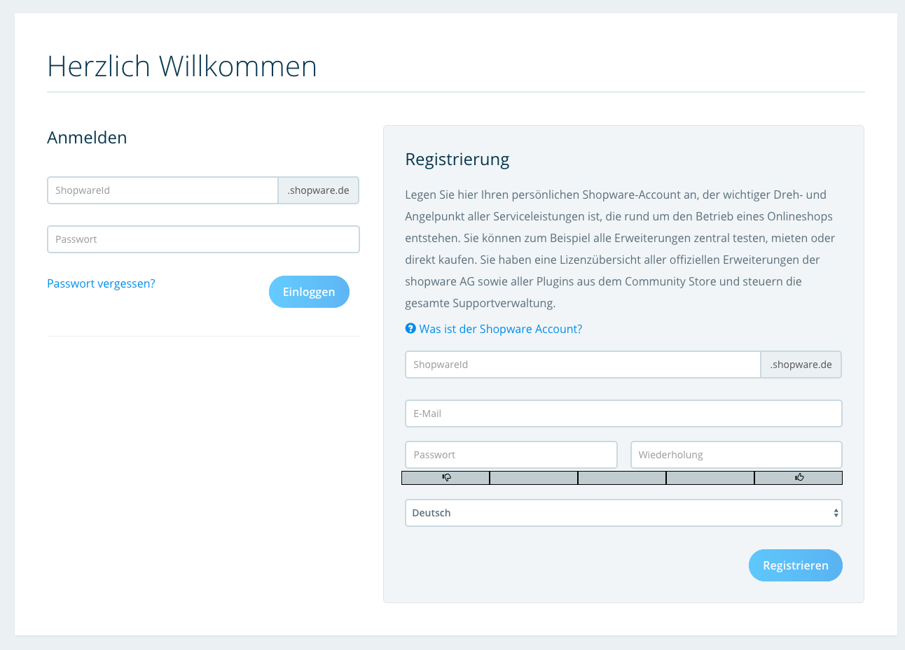 Shopware Account registrieren