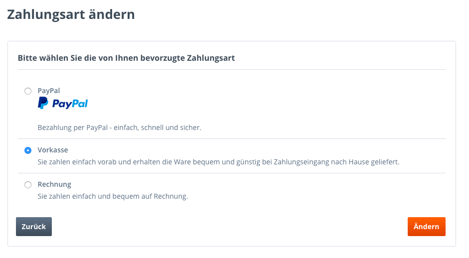 Zahlungsarten PayPal Vorkasse Rechnung