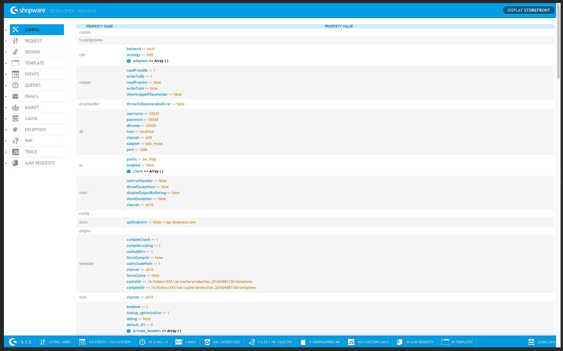 Shopware Developer Toolbar Detailansicht
