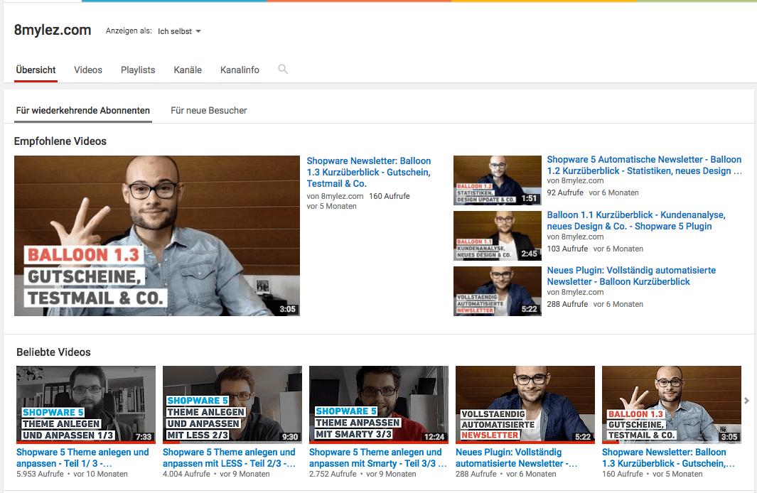Youtube Kanal 8mylez.com