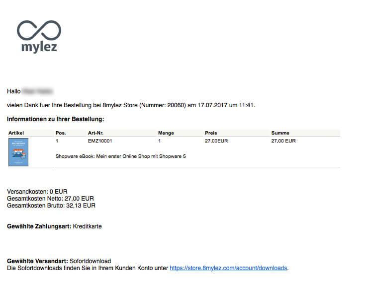 shopware email bestellbesta  tigung