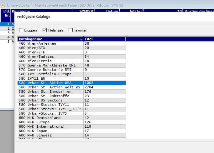 Abb. 7 Urban Stocks 2. Aktiensortierung Katalogauswahl 002