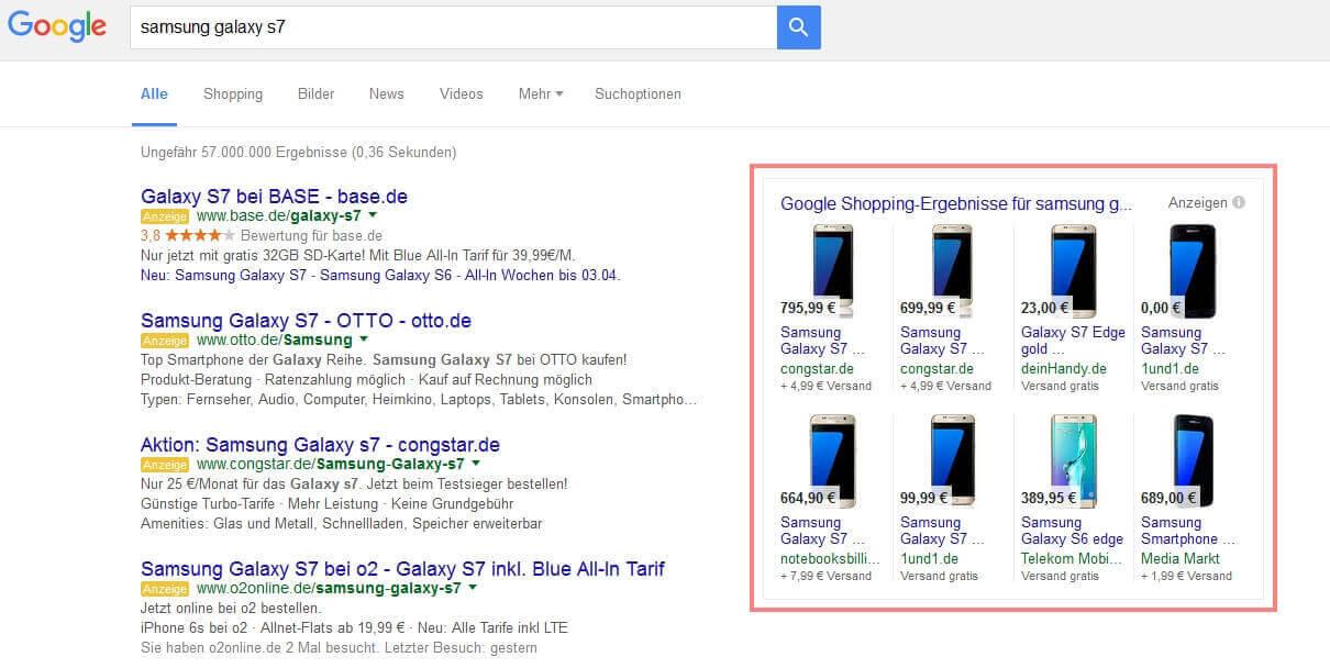 Google Shopping Ergebnisse 4