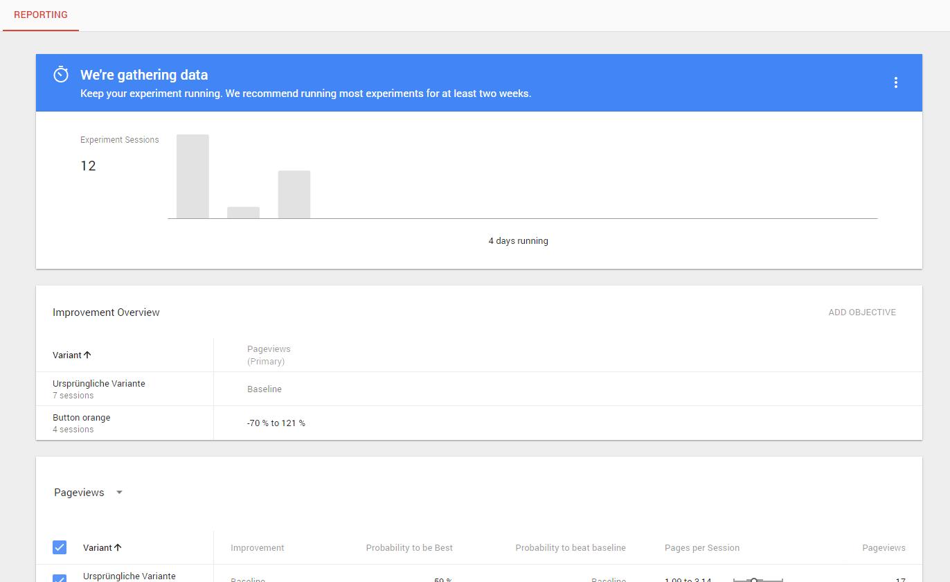 Google Optimize Reporting