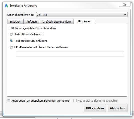 AdWords Editor - an URL anhängen